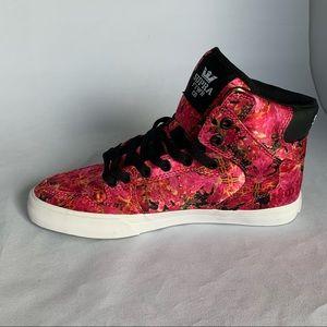 Supra Vaider pink satin floral hi top sneakers 8.5